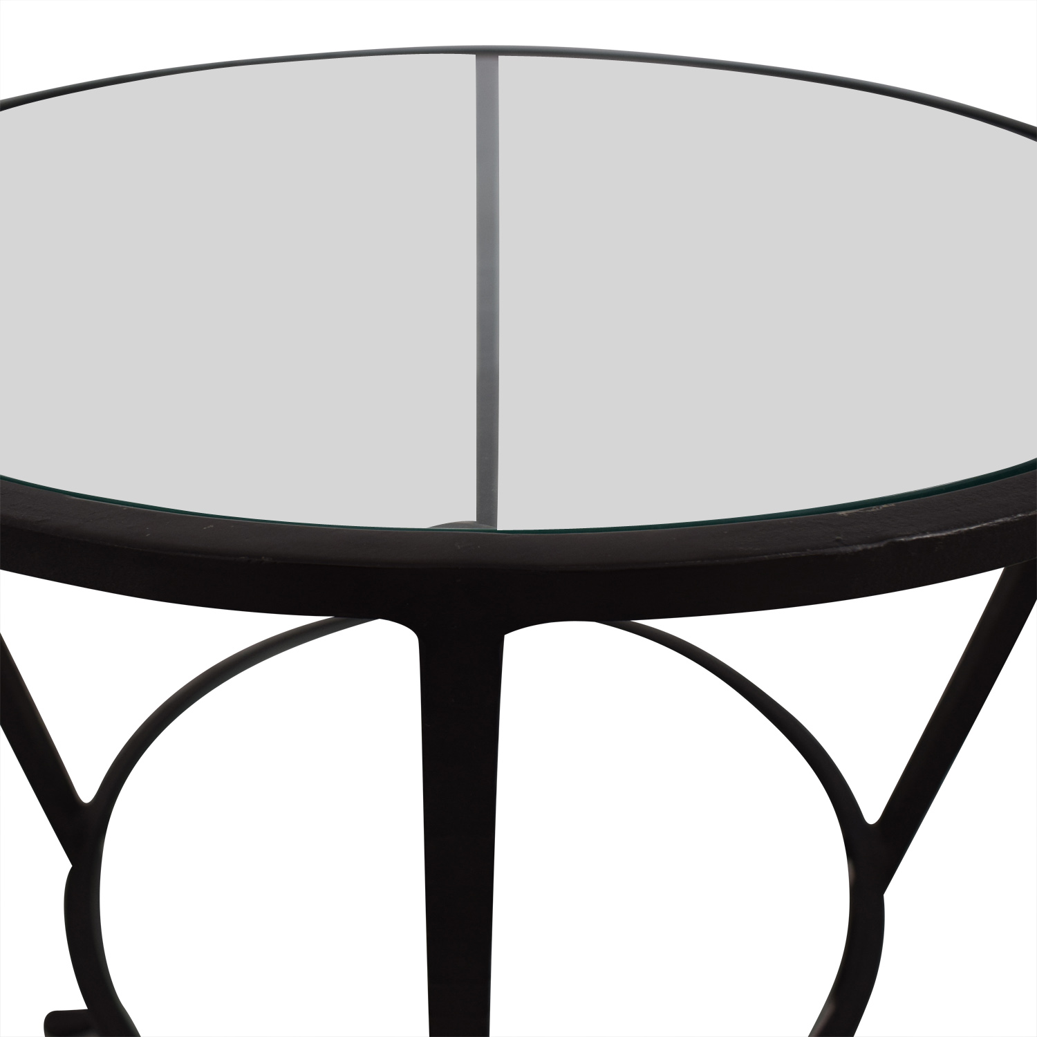 Pottery Barn Round Metal & Glass Table sale