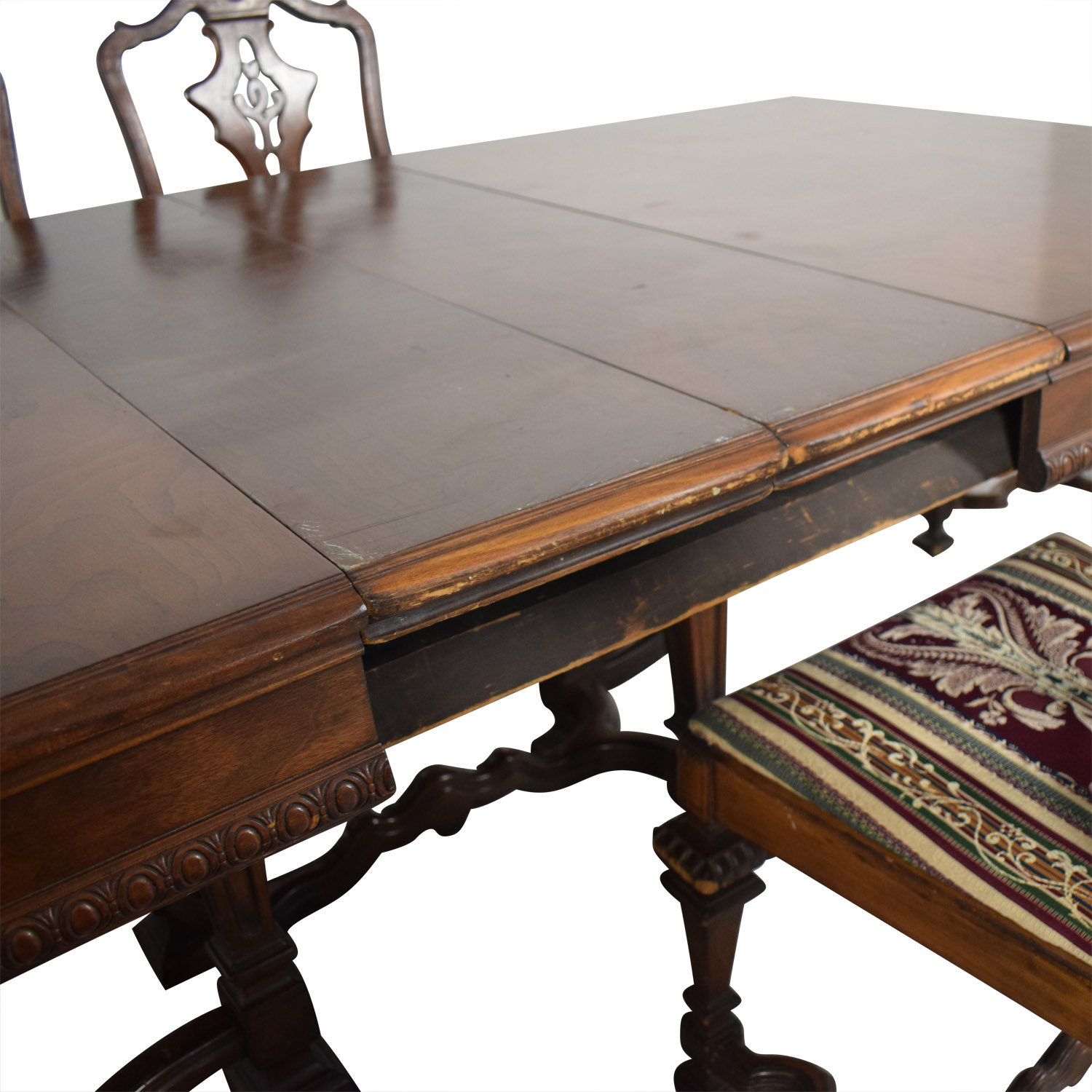 Jackobian Antique Dining Set with Burgundy Upholstered Chairs