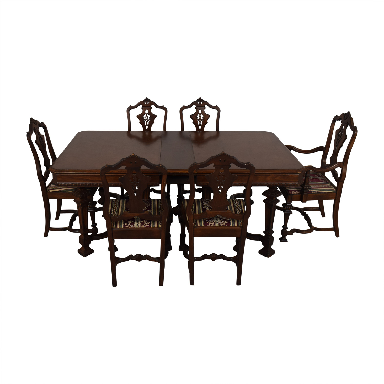 buy Jackobian Antique Dining Set with Burgundy Upholstered Chairs  Tables