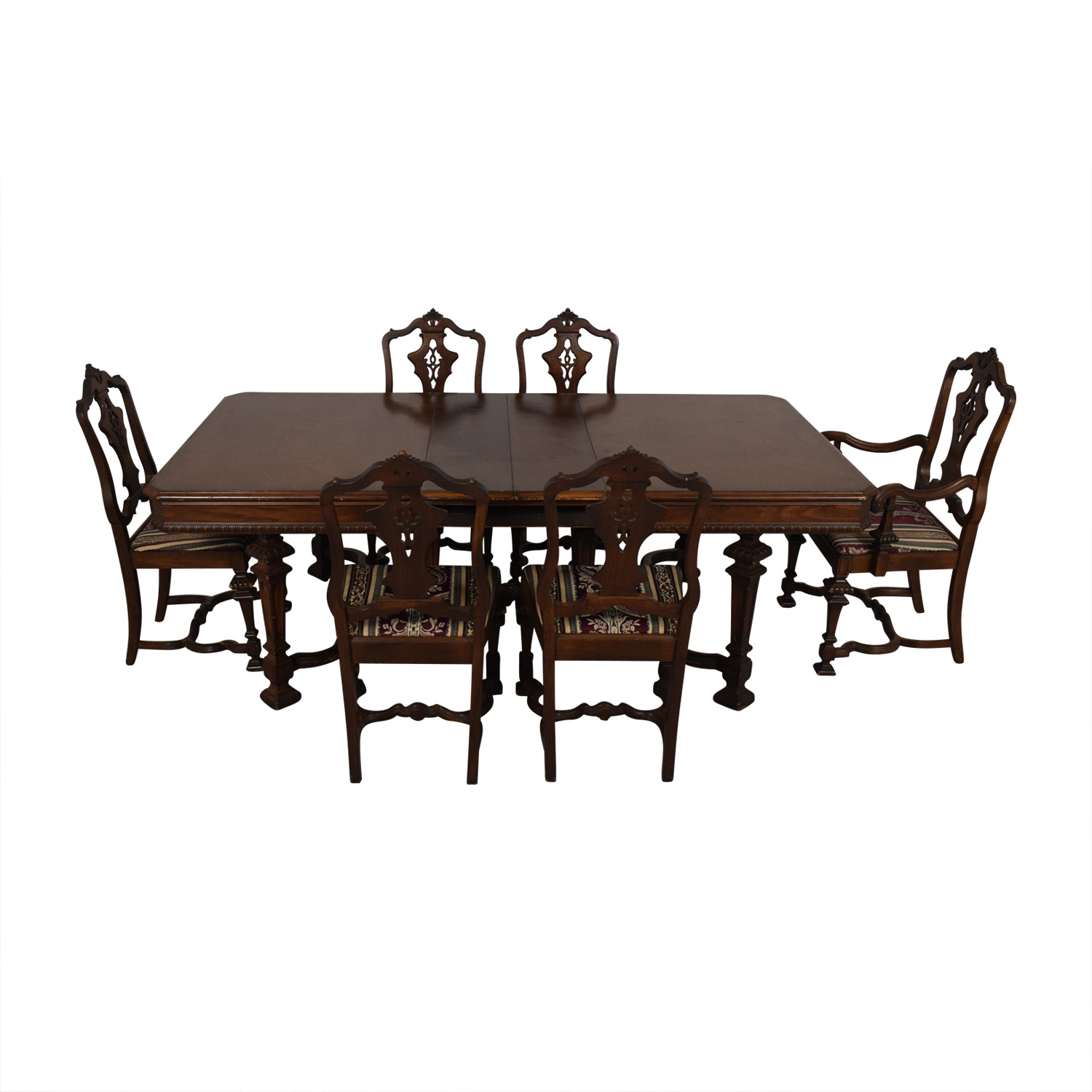 buy Jackobian Antique Dining Set with Burgundy Upholstered Chairs  Dining Sets