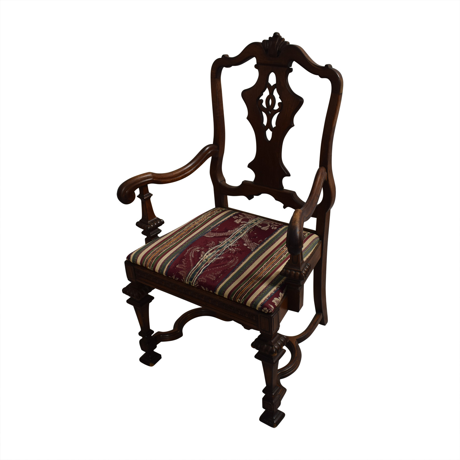 Jackobian Antique Dining Set with Burgundy Upholstered Chairs nyc