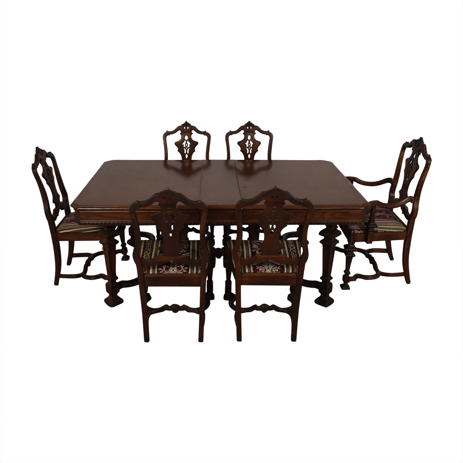 Jackobian Antique Dining Set with Burgundy Upholstered Chairs Tables