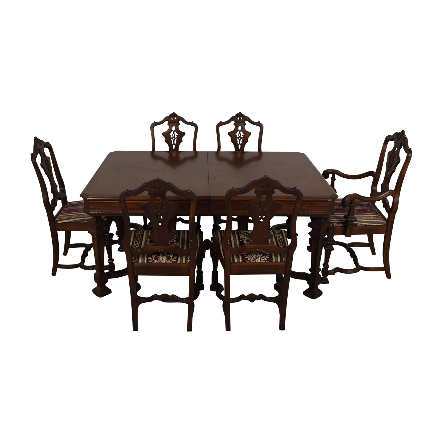 Jackobian Antique Dining Set with Burgundy Upholstered Chairs coupon