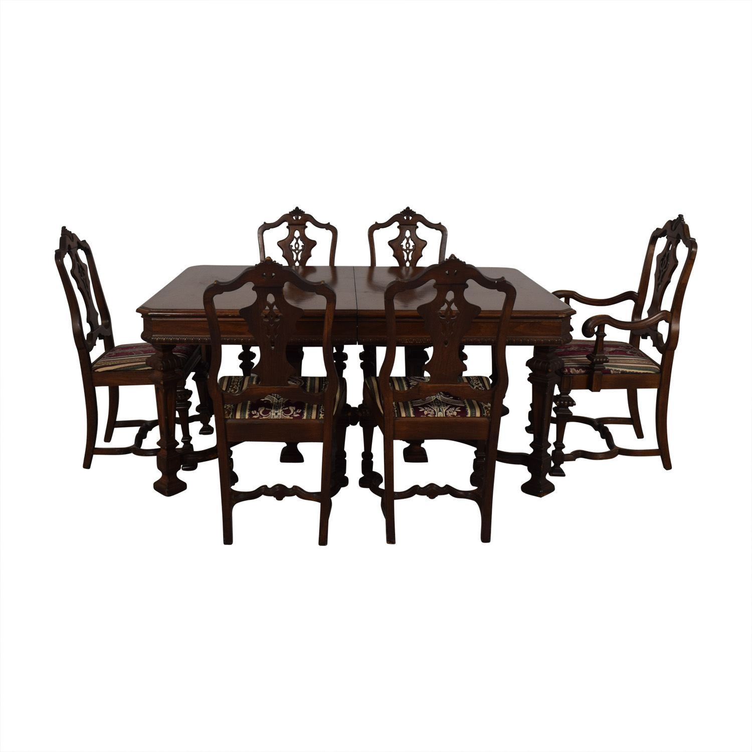 Jackobian Antique Dining Set with Burgundy Upholstered Chairs discount