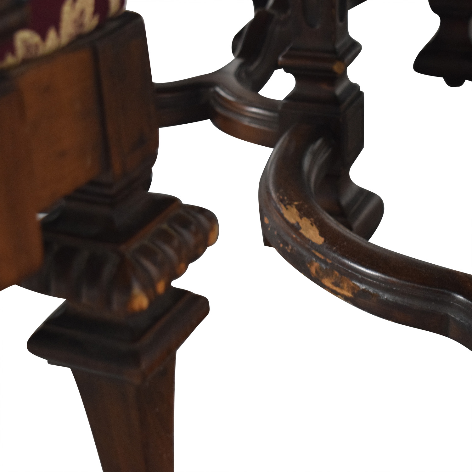 Jackobian Antique Dining Set with Burgundy Upholstered Chairs for sale