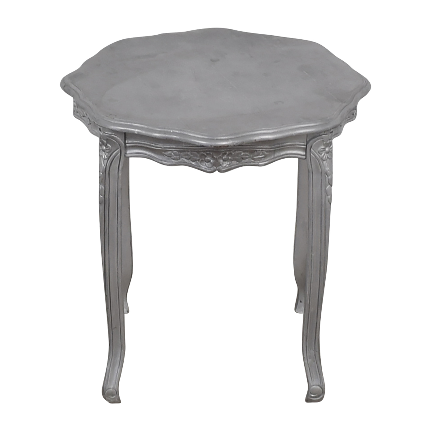 Custom Painted Silver Carved End Table / End Tables