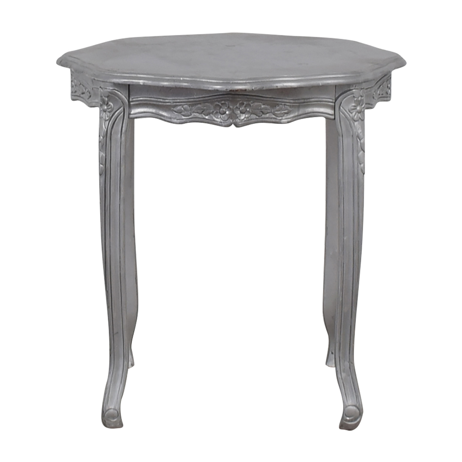 Custom Painted Silver Carved End Table second hand