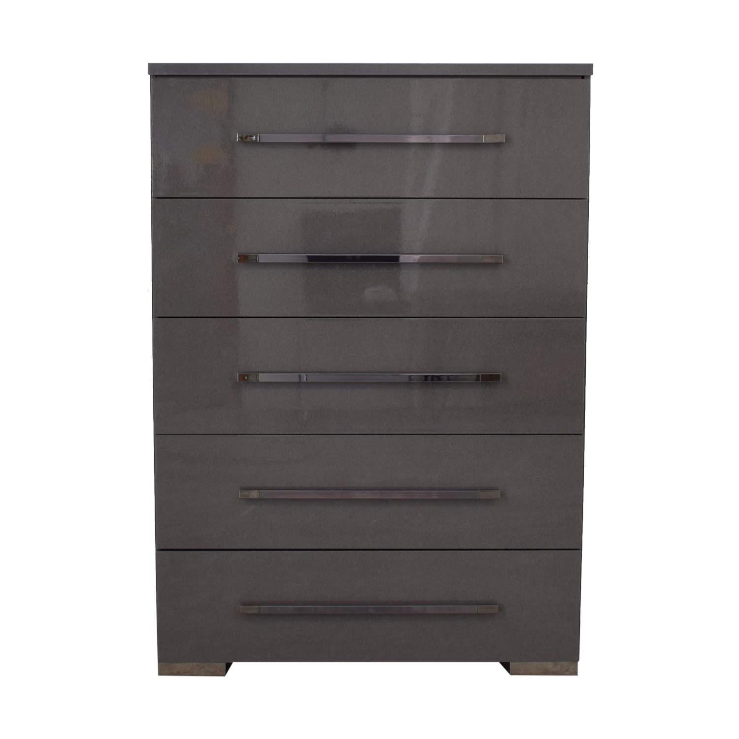 Gray Lacquered Five-Drawer Tall Chest on sale