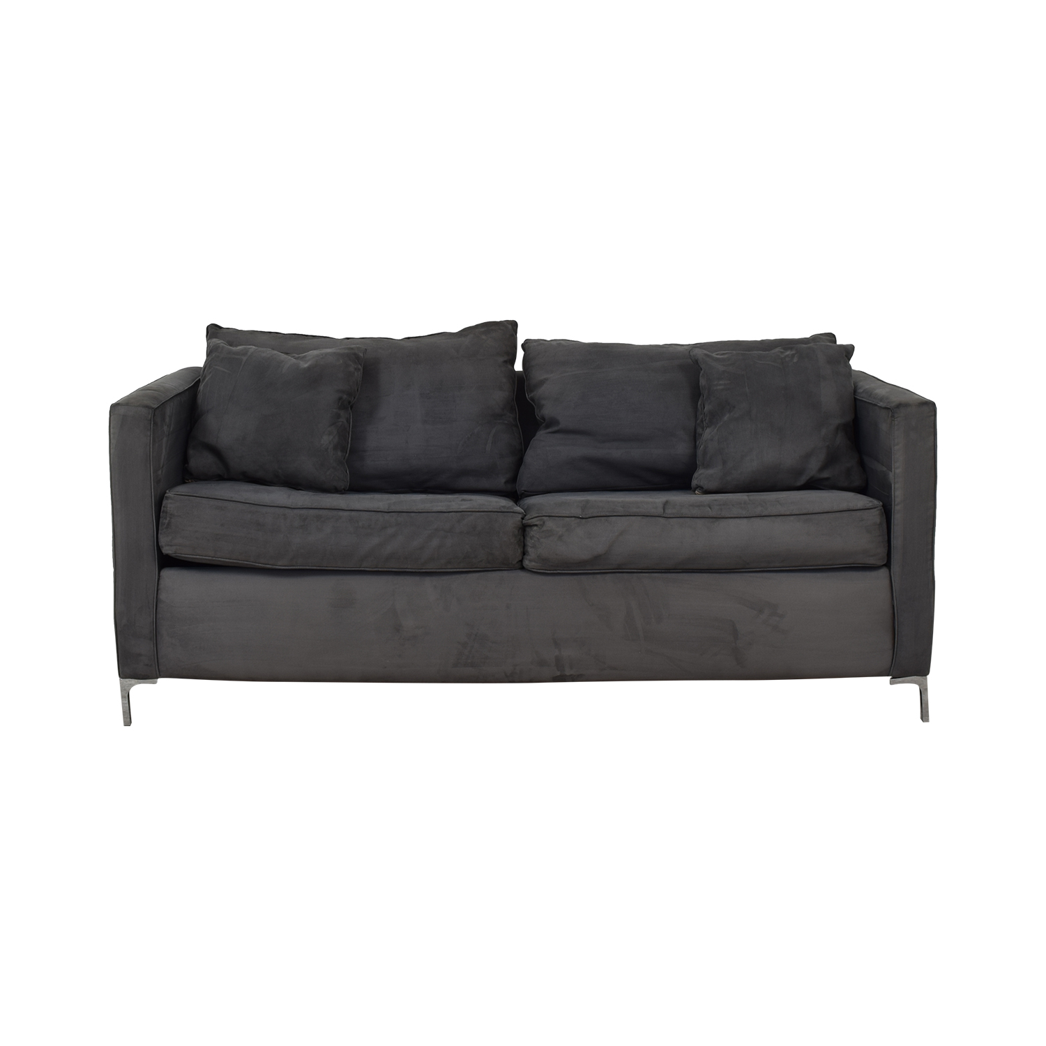 Gray Suede Pull Out Couch for sale