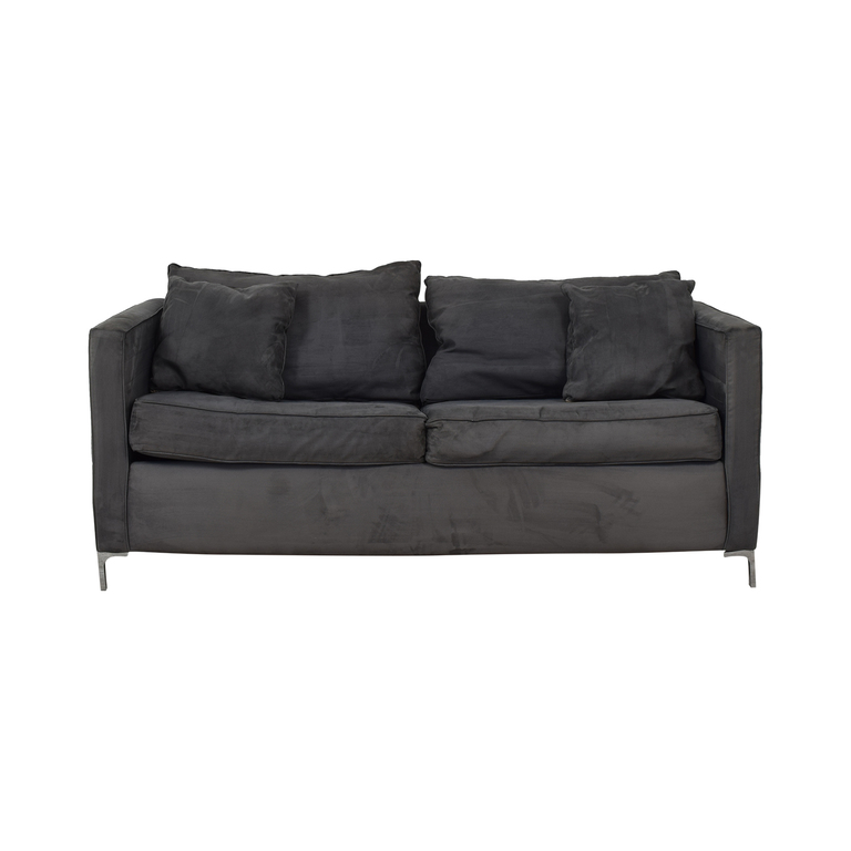 Gray Suede Pull Out Sofabed used