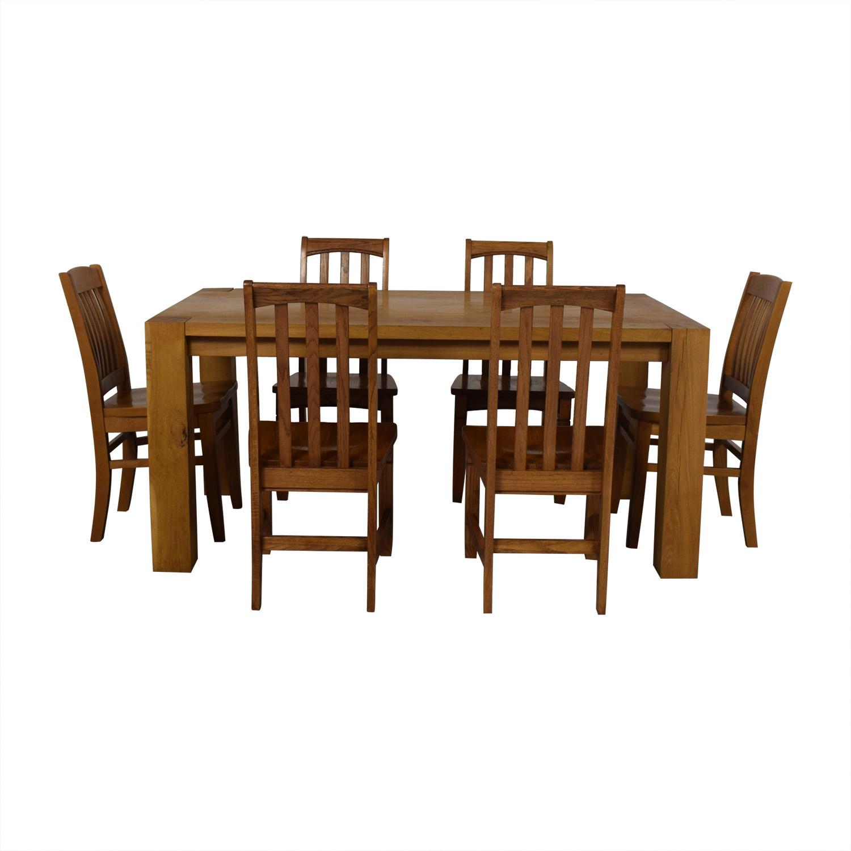 Crate & Barrel White Oak Dining Set sale