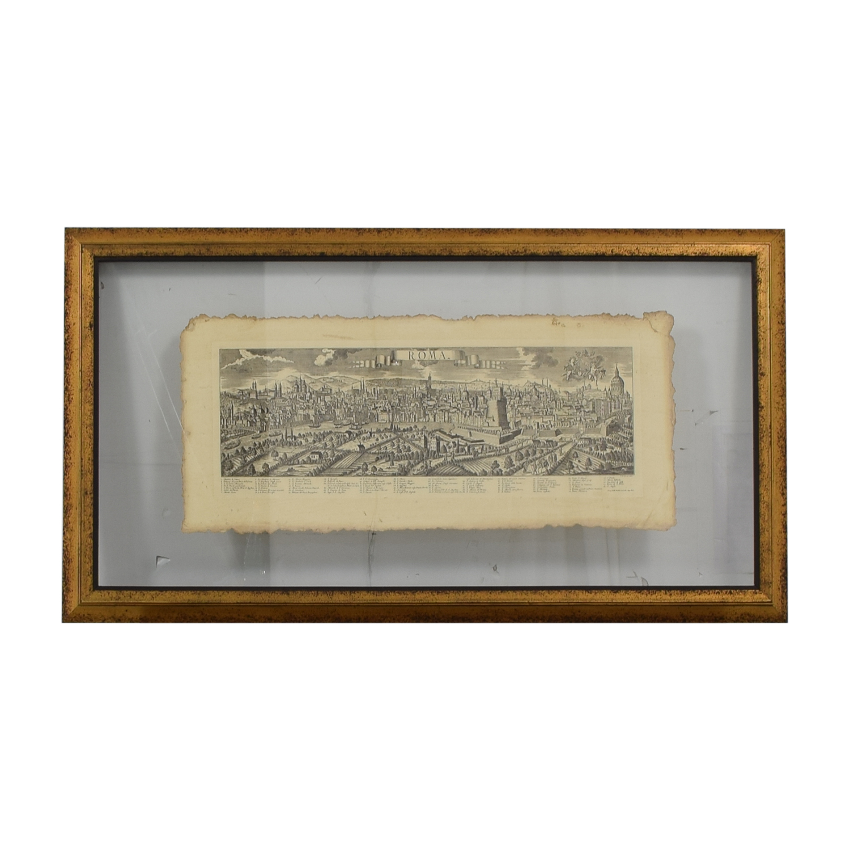 John-Richard Pressed Glass Roman Map / Decor