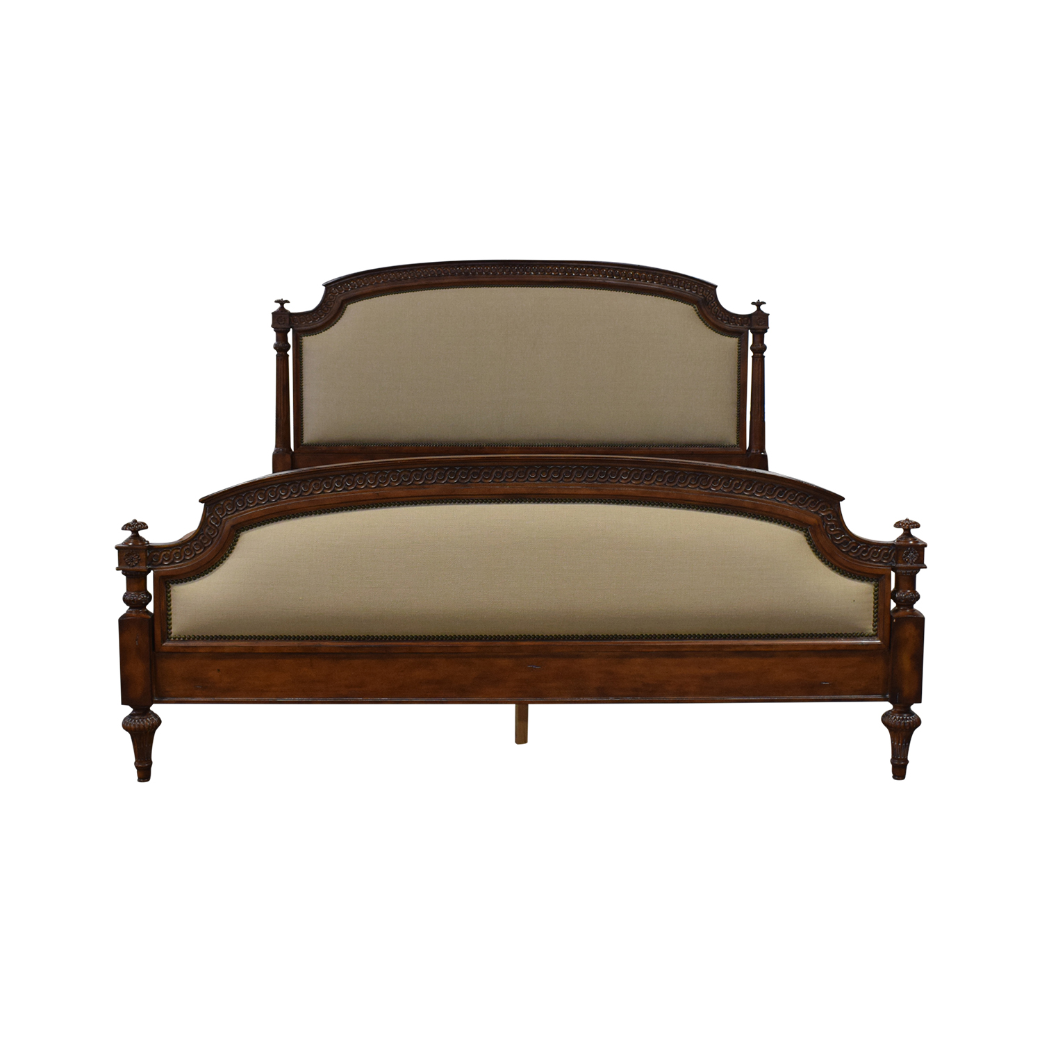 Hickory House Hickory House Rue De Province Carved Wood Upholstered Nailhead King Bed Frame Brown