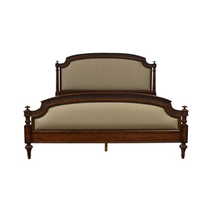 buy Hickory House Hickory House Rue De Province Carved Wood Upholstered Nailhead King Bed Frame online
