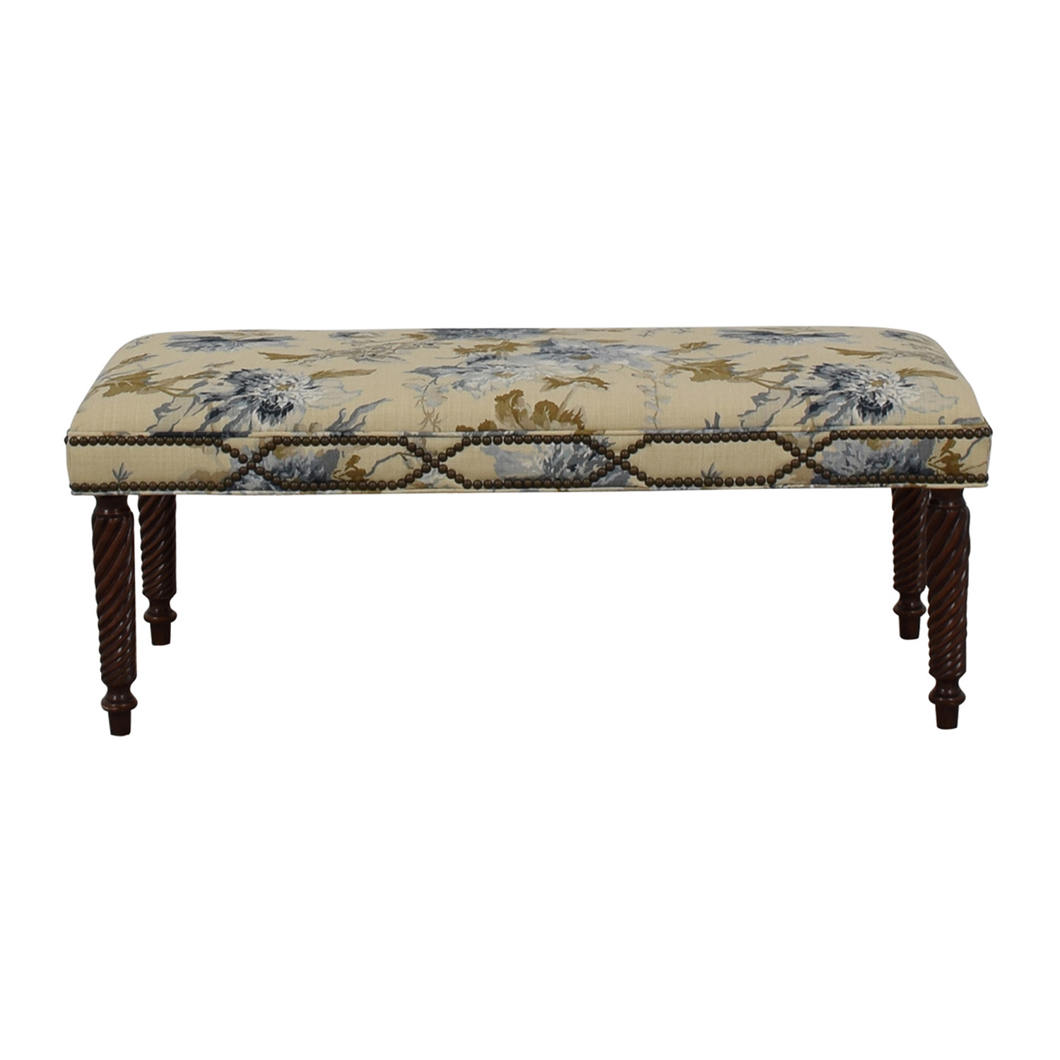 Custom Blue Floral Nailhead Bench for sale