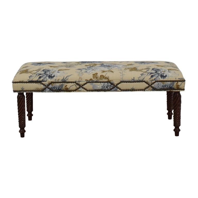 Custom Blue Floral Nailhead Bench