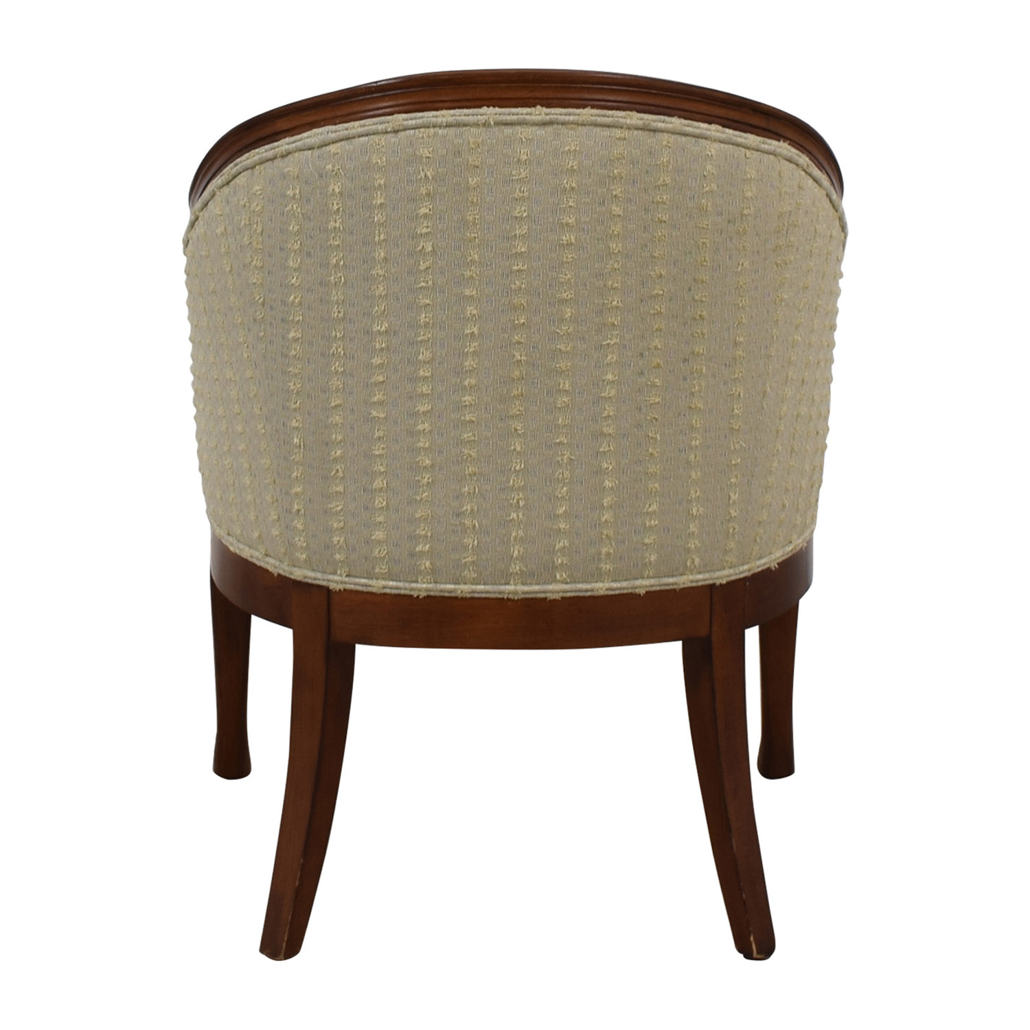 Custom Beige Upholstered Semi Round Accent Chair