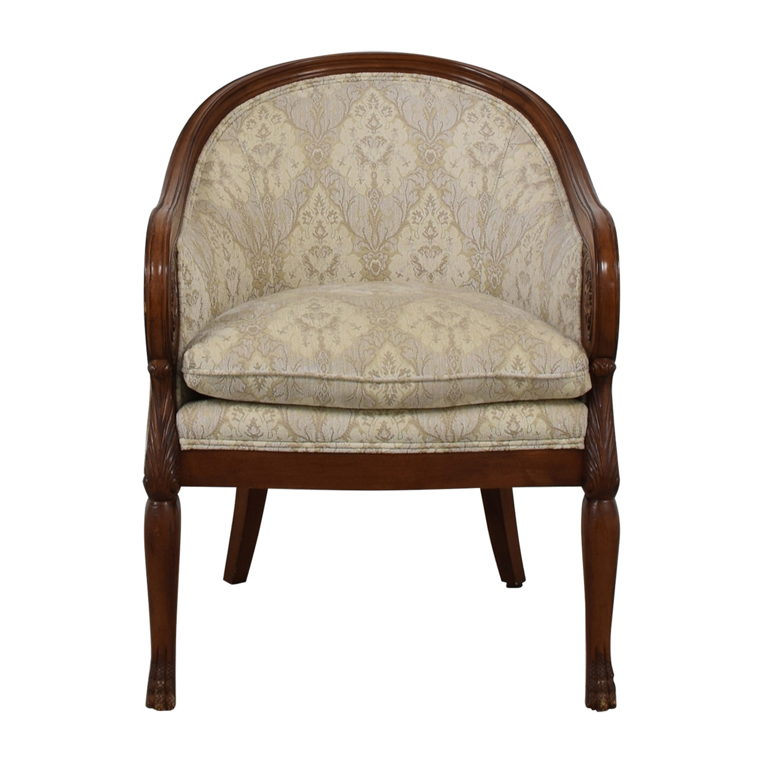 buy Custom Beige Upholstered Semi Round Accent Chair  Chairs