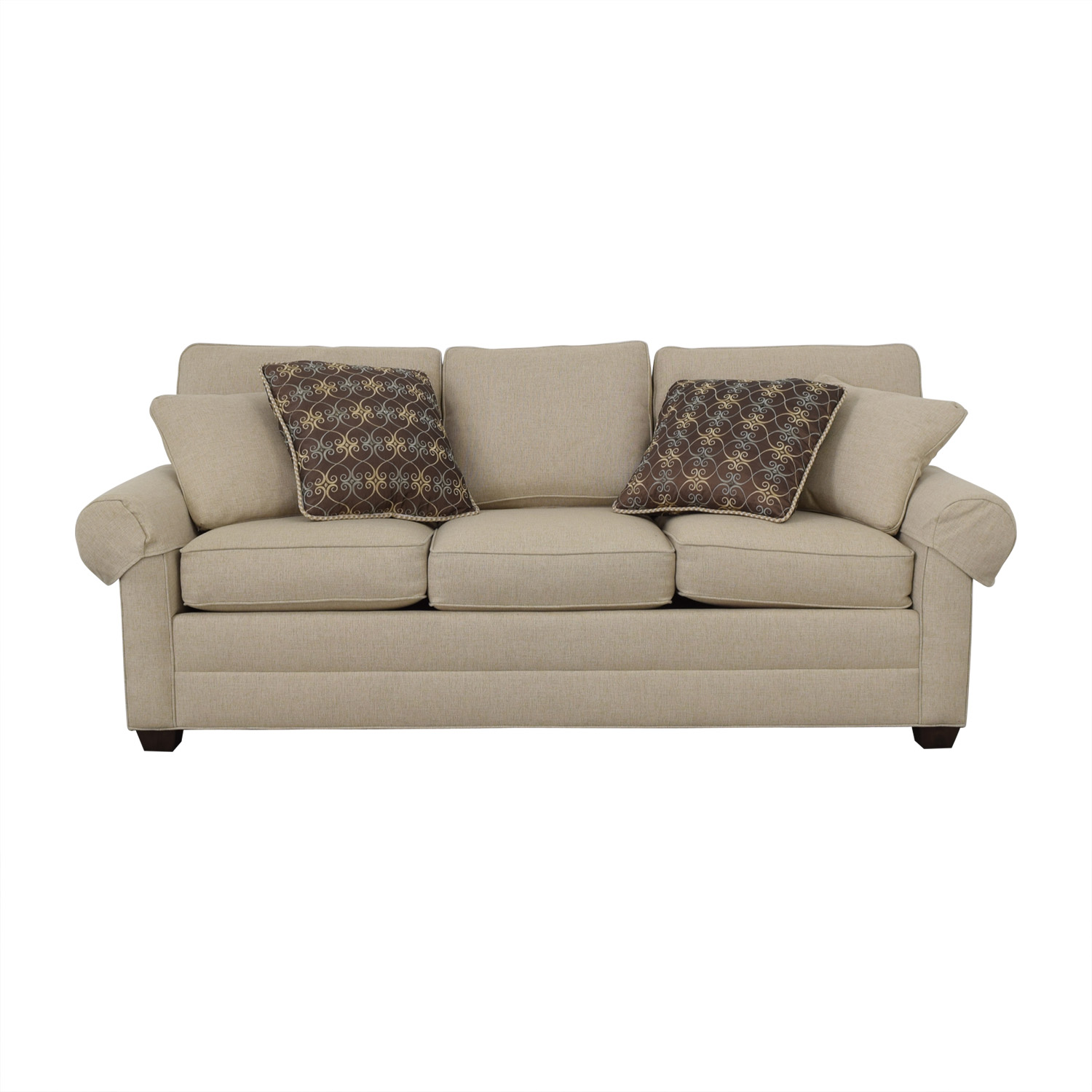 shop Ethan Allen Beige Three-Cushion Couch Ethan Allen Classic Sofas