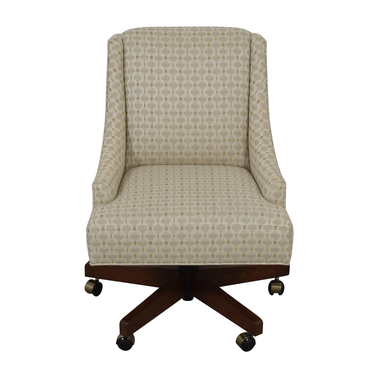 Ethan Allen Ethan Allen Beige Upholstered Office Chair on Castors used
