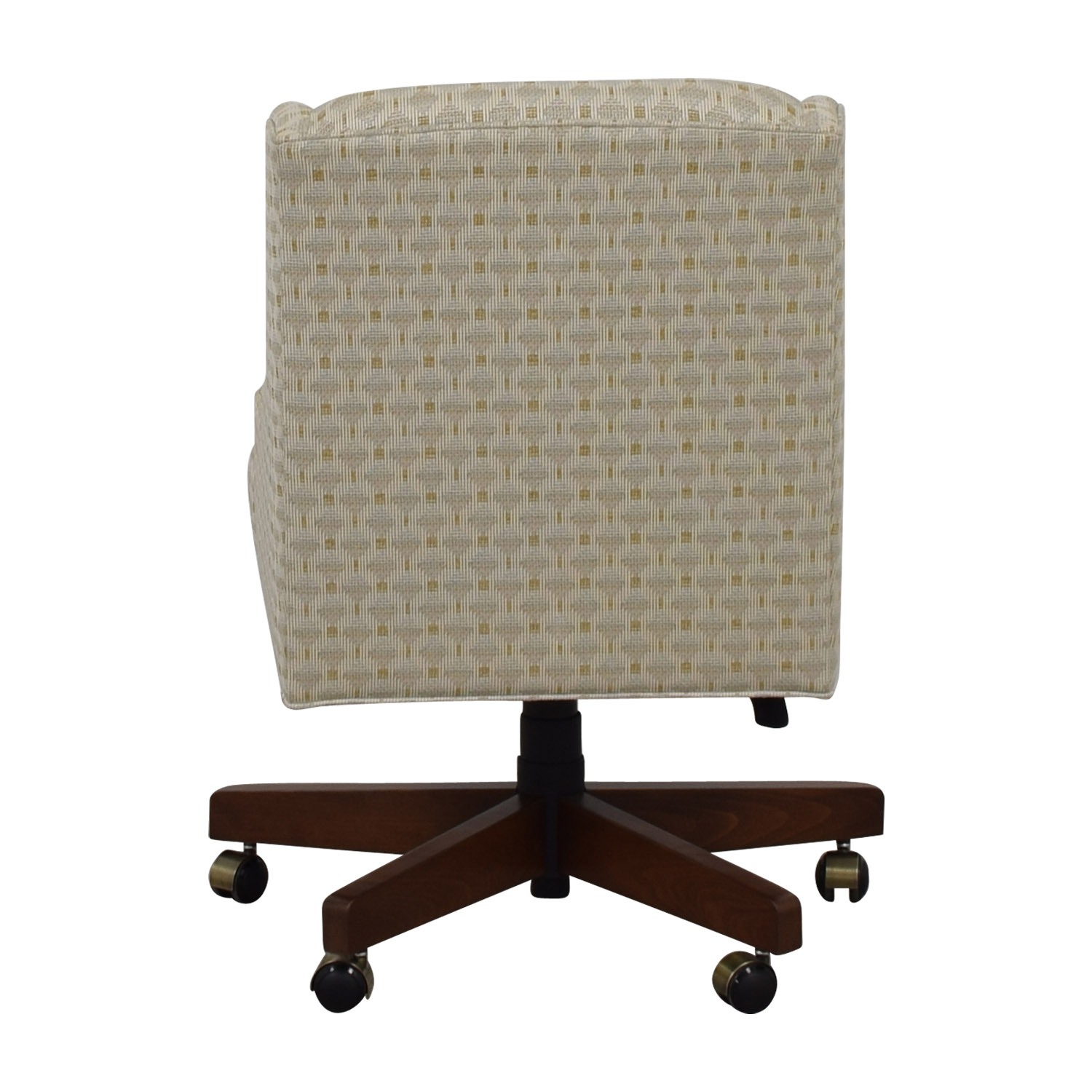 Ethan Allen Beige Upholstered Office Chair on Castors sale