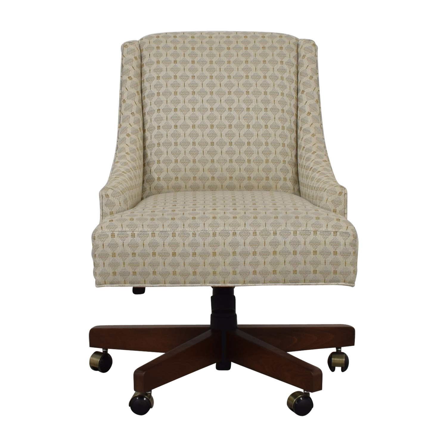Ethan Allen Ethan Allen Beige Upholstered Office Chair on Castors