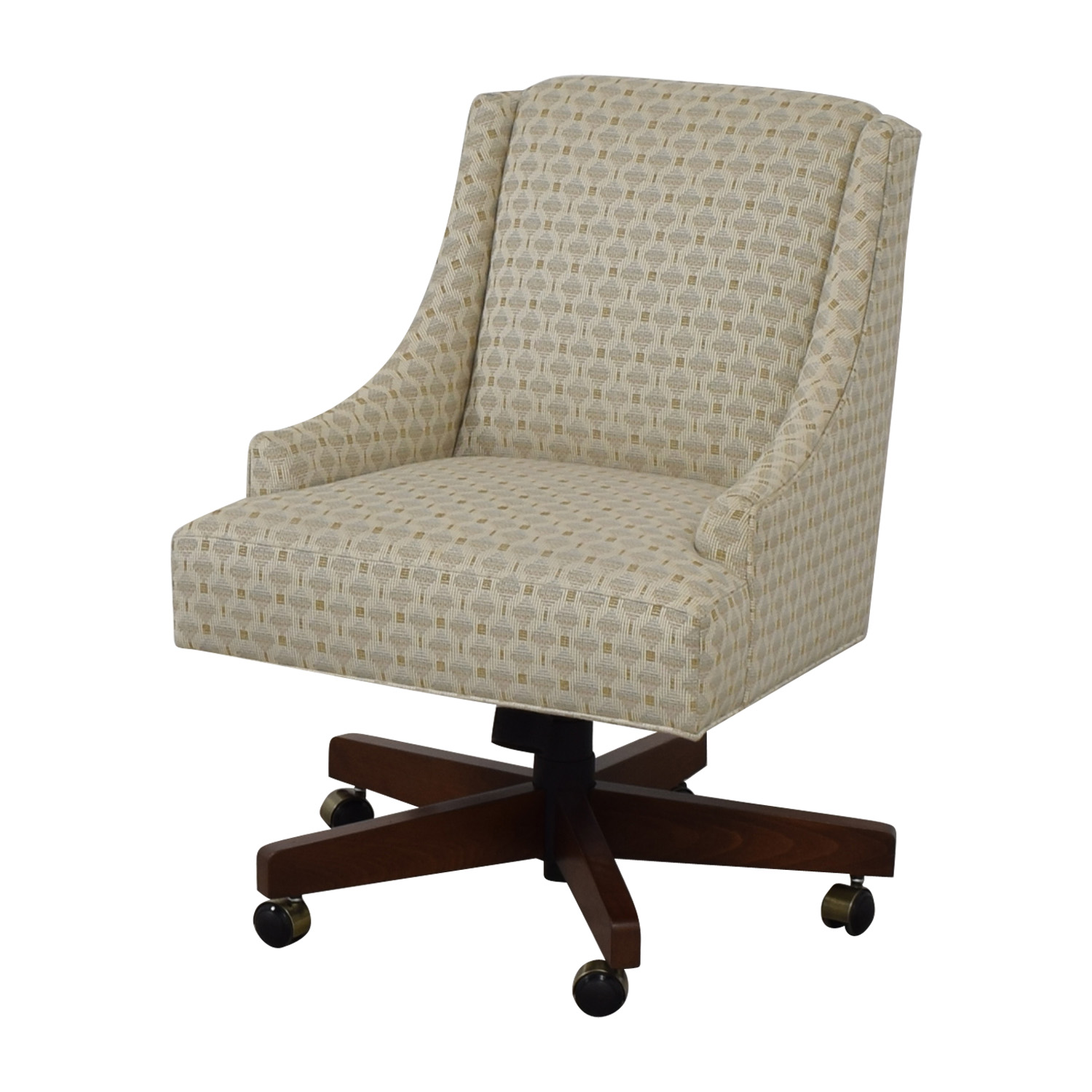 Ethan Allen Ethan Allen Beige Upholstered Office Chair on Castors coupon