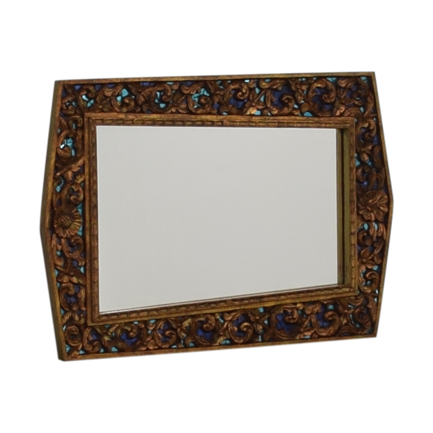 Jeweled Asymmetrical Hand Carved Mirror on sale