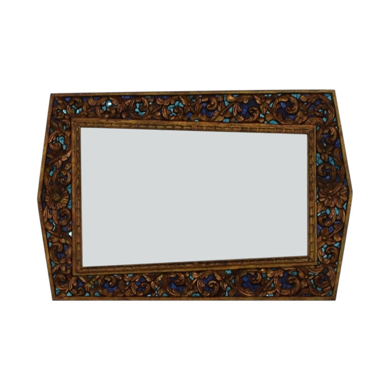 Jeweled Asymmetrical Hand Carved Mirror dimensions