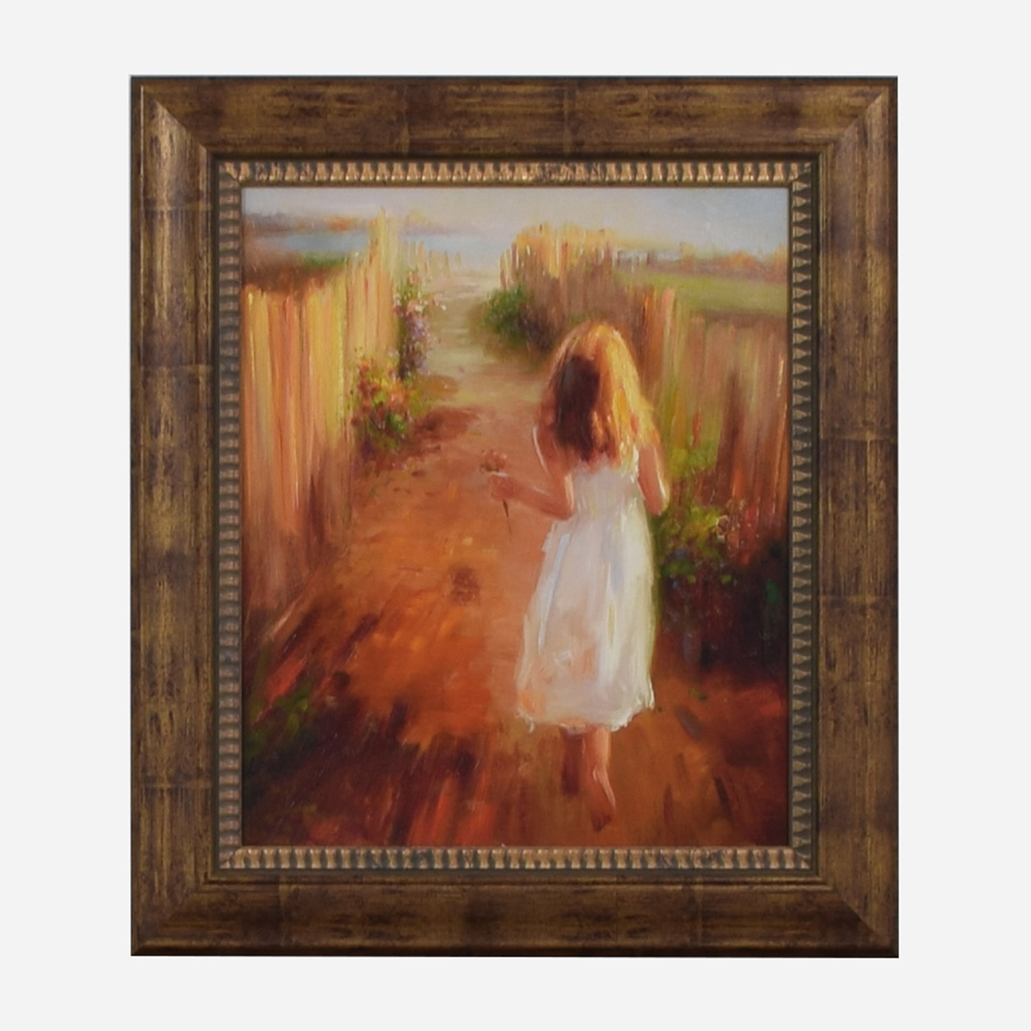 John-Richard John-Richard Girl Picking Flowers Framed Print discount