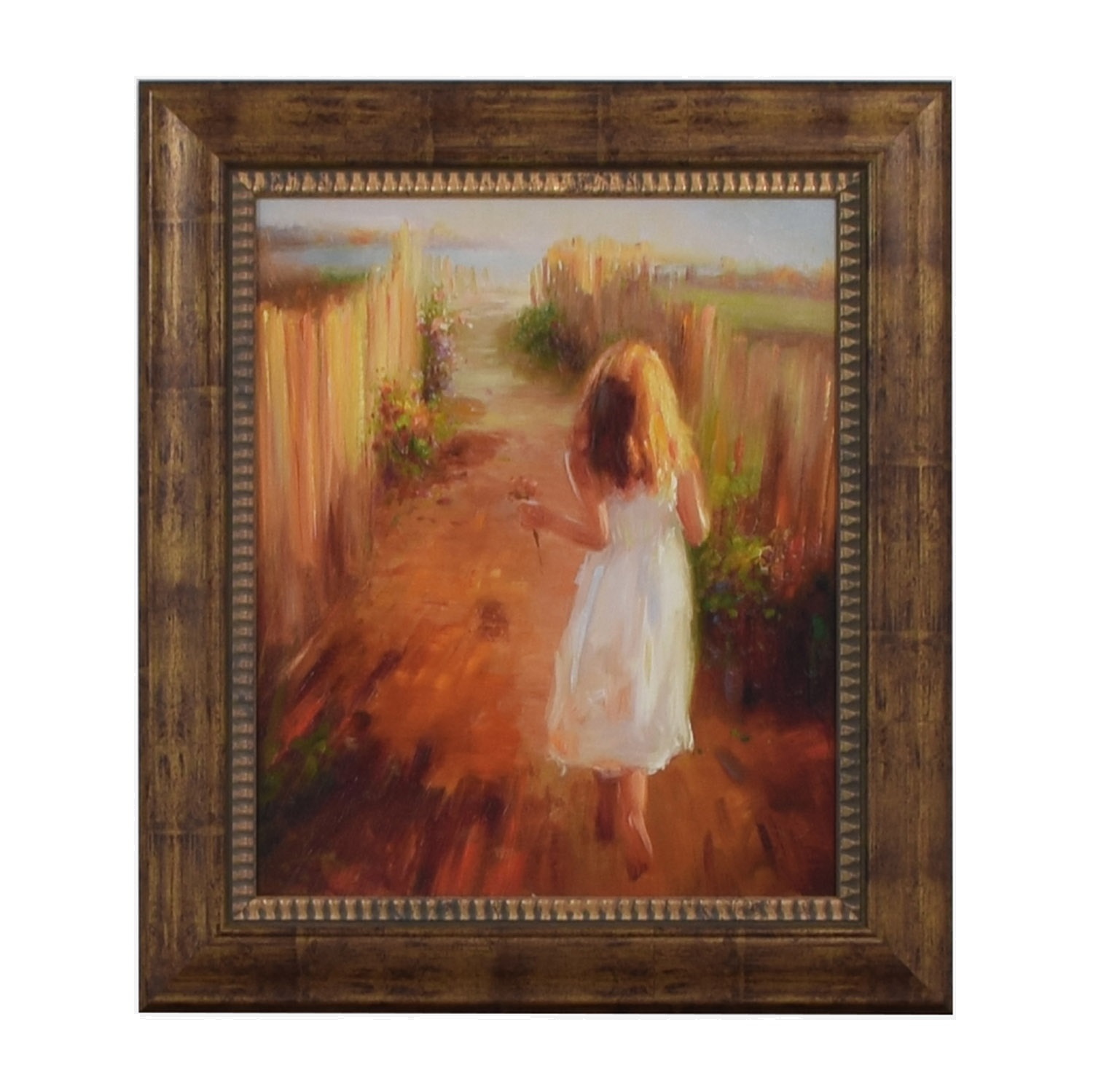 John-Richard John-Richard Girl Picking Flowers Framed Print