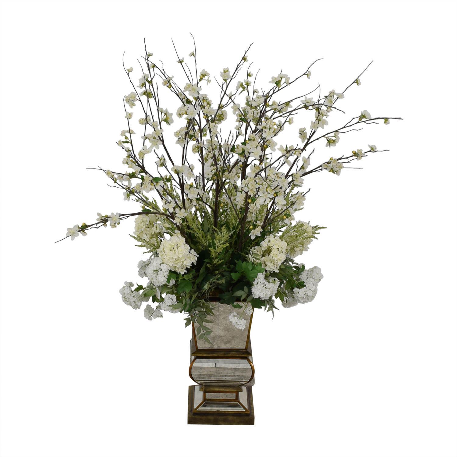 buy Jonathan-Richard White Flowers in Mirrored Base Jonathan-Richard Decorative Accents
