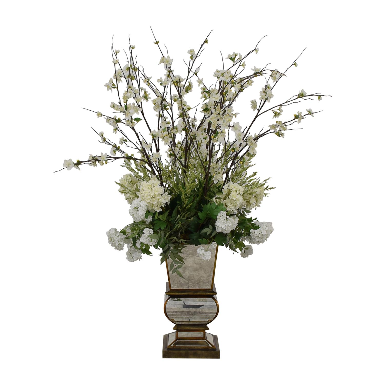 buy Jonathan-Richard White Flowers in Mirrored Base Jonathan-Richard Decorative Accents