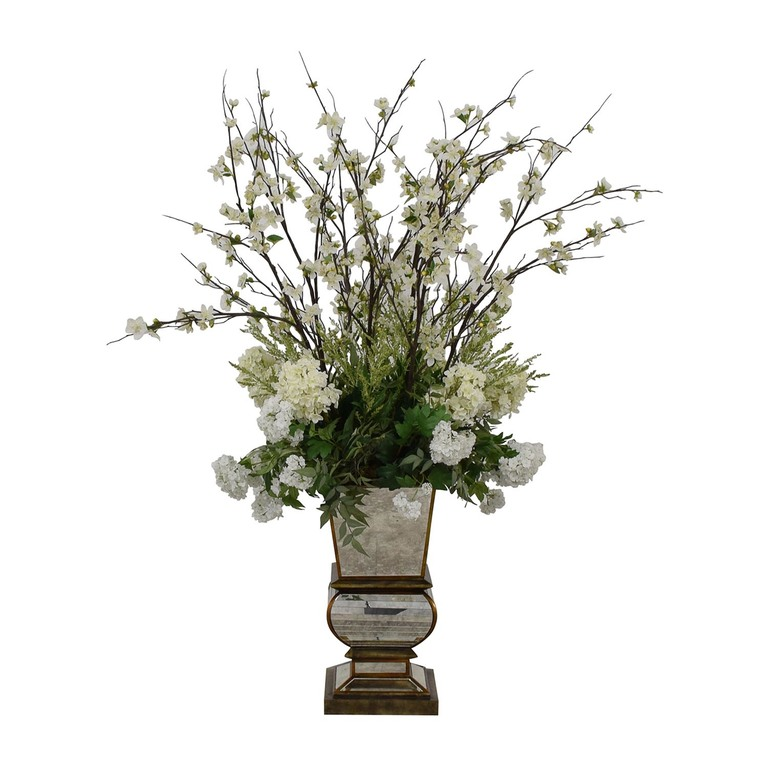 Jonathan-Richard Jonathan-Richard White Flowers in Mirrored Base coupon