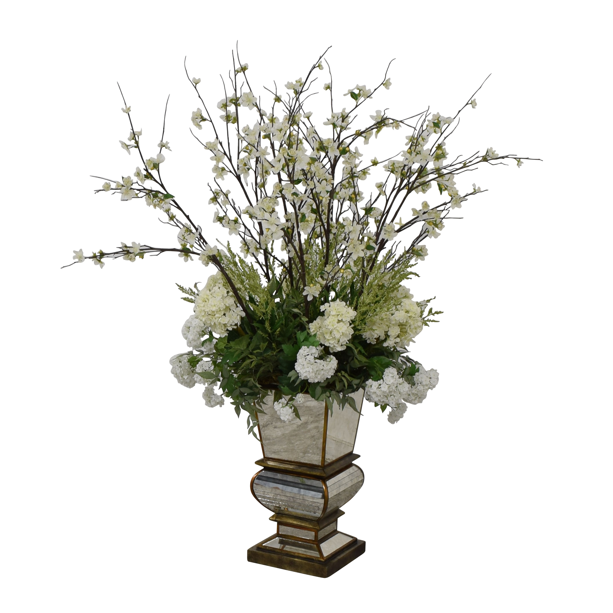 Jonathan-Richard Jonathan-Richard White Flowers in Mirrored Base on sale