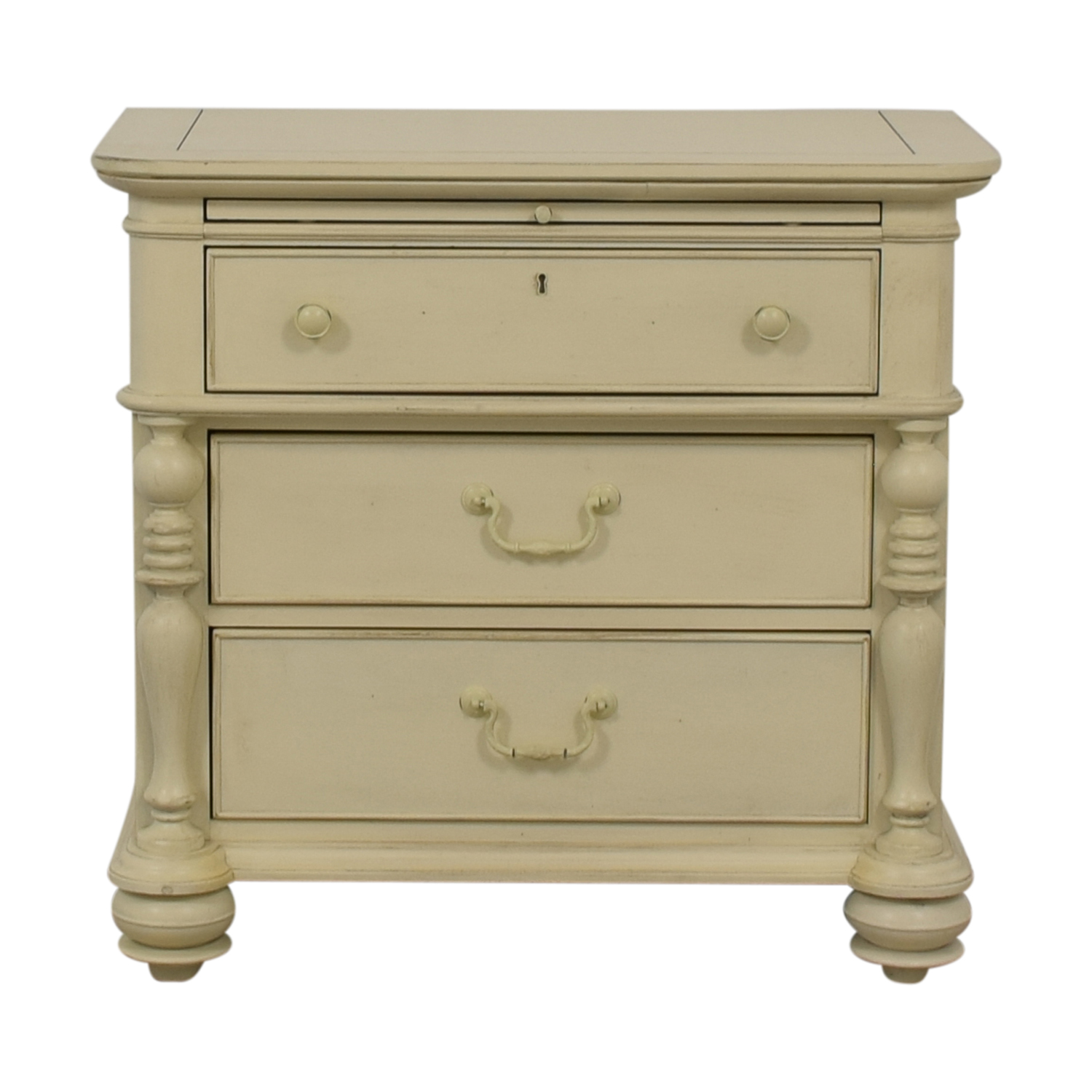 Paula Deen Home White Three-Drawer Side Table with Tray / Tables