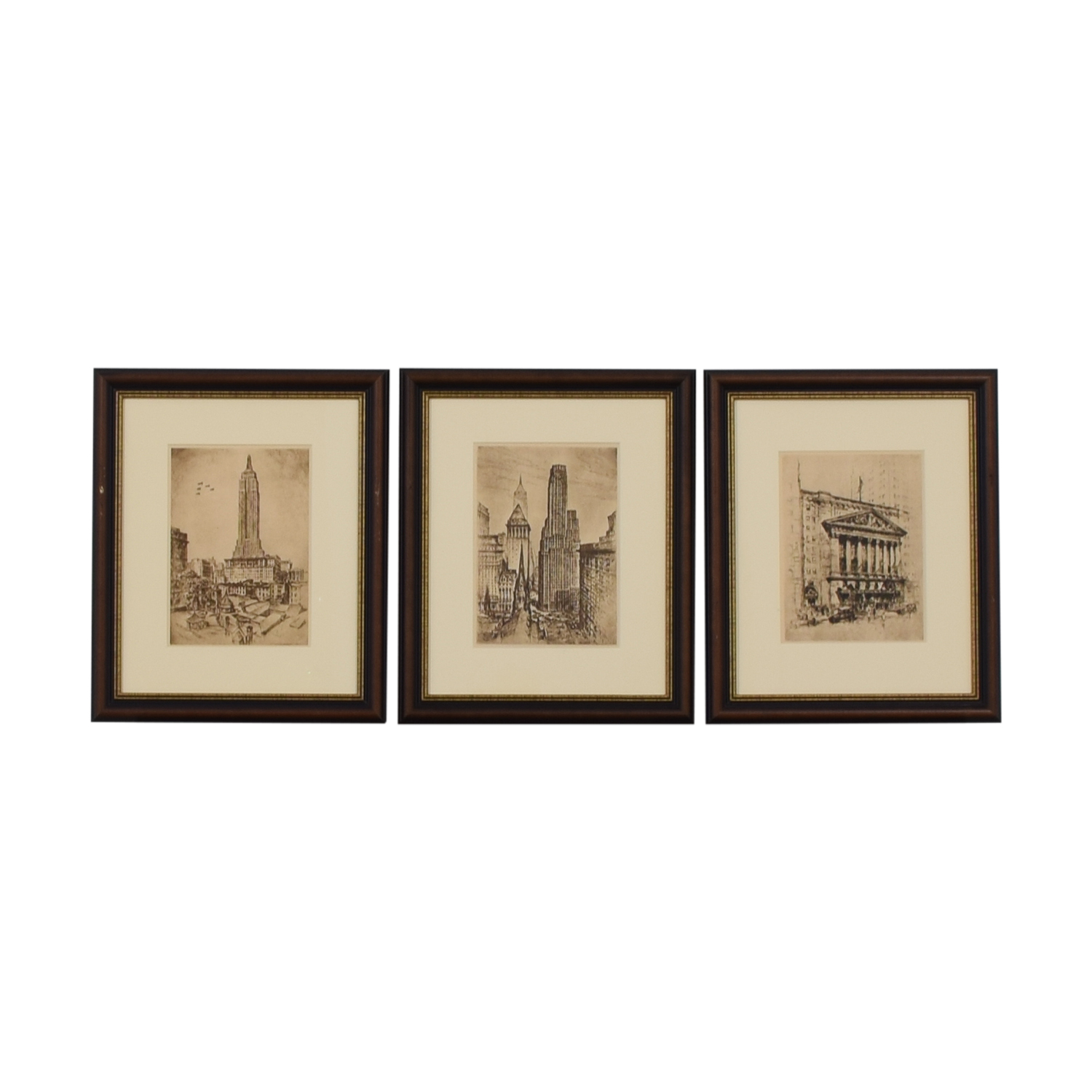 Etched NYC Landmarks Framed Wall Art second hand