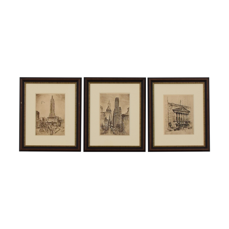 Etched NYC Landmarks Framed Wall Art sale
