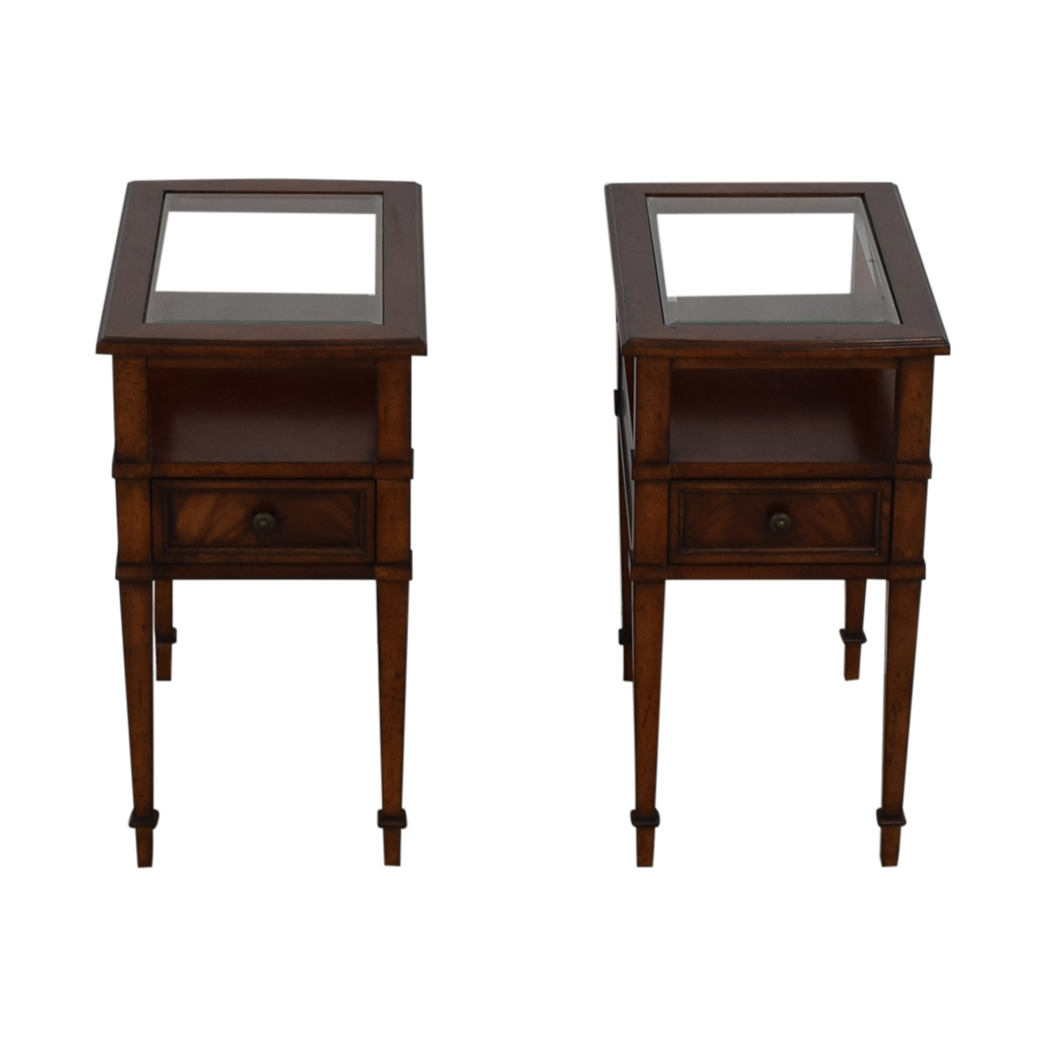 Drexel Heritage Single Drawer Glass and Wood Side Tables Drexel Heritage