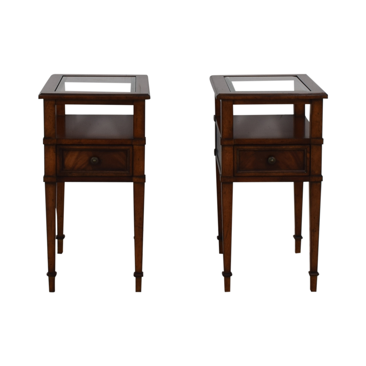 86 Off Drexel Heritage Single Drawer Gl And Wood Side Tables