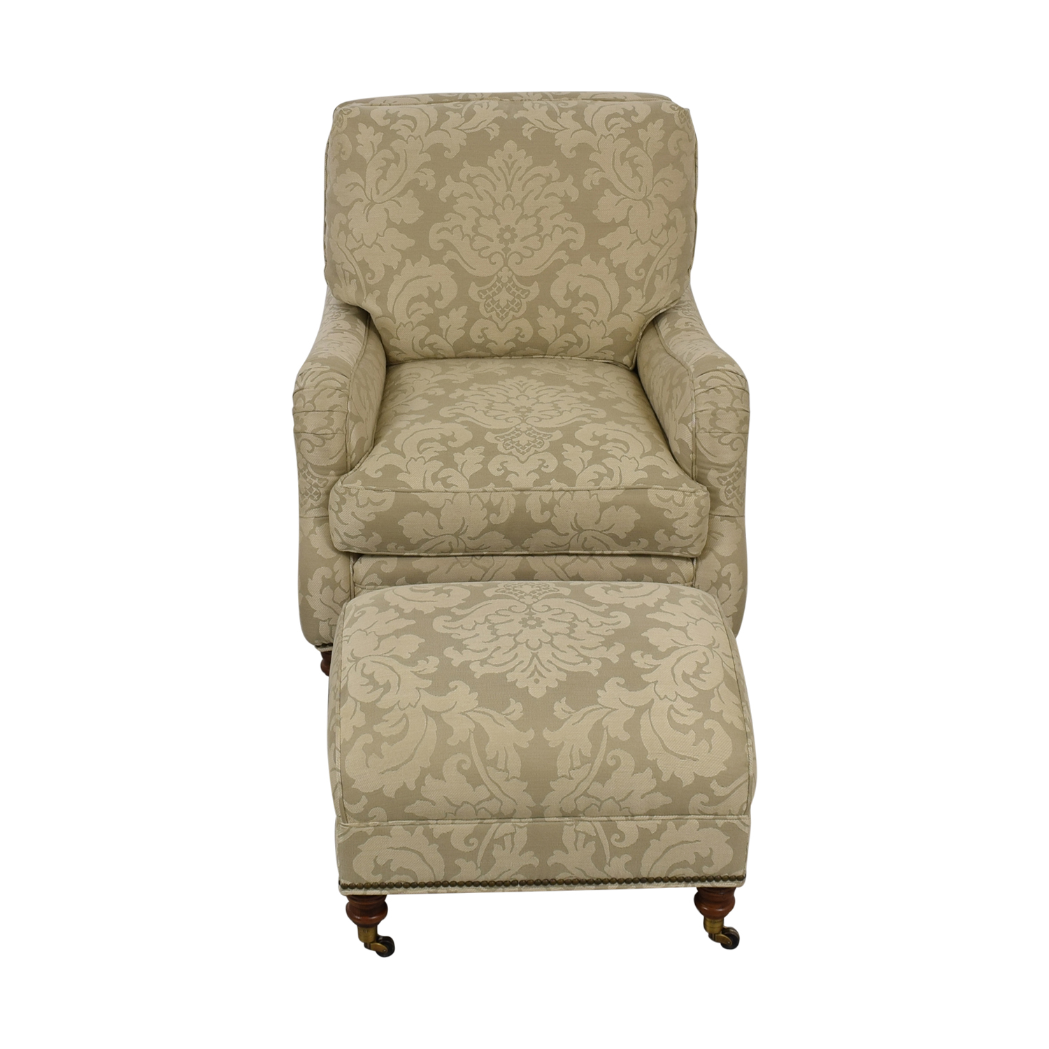 Vanguard Vanguard Beige Upholstered Accent Chair with Ottoman for sale