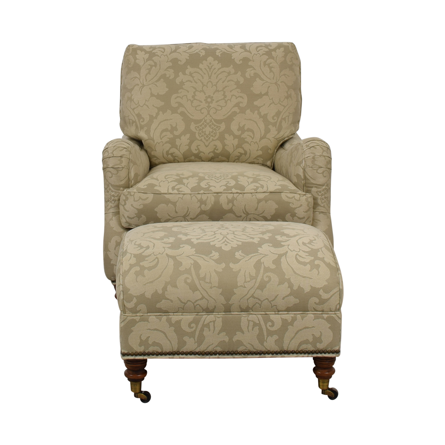 Vanguard Vanguard Beige Upholstered Accent Chair with Ottoman price