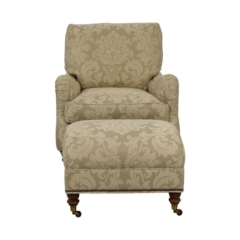 shop Vanguard Vanguard Beige Upholstered Accent Chair with Ottoman online