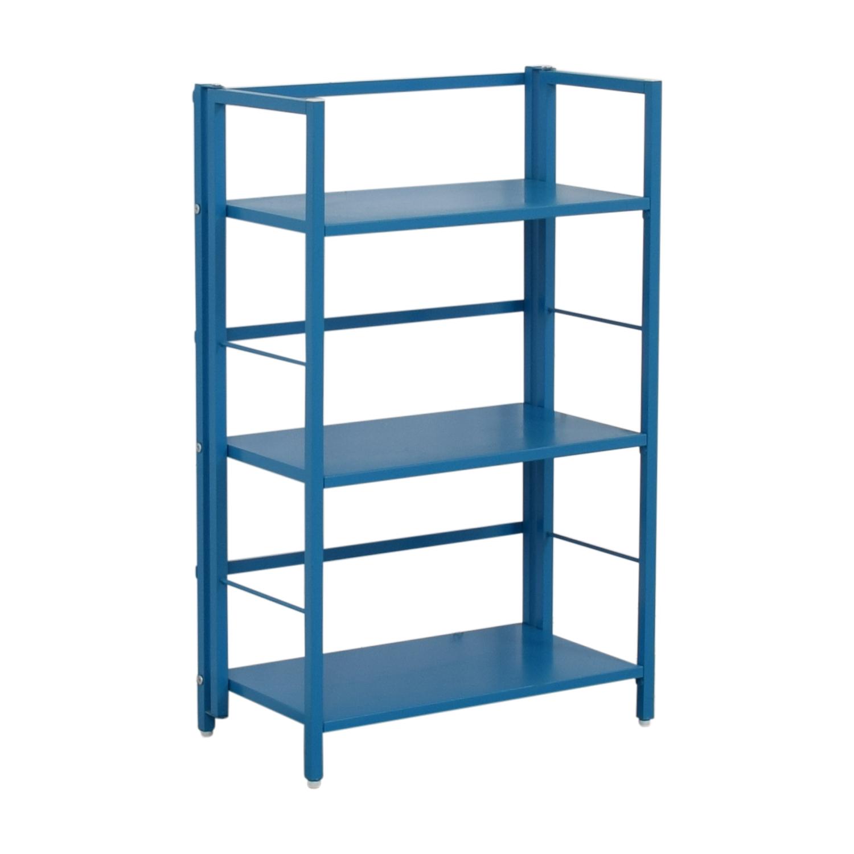 buy Blue Metal Bookshelf  Bookcases & Shelving
