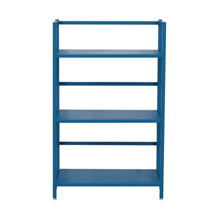 buy Crate & Barrel Pop Up Blue Folding Three Shelf Bookcase Crate & Barrel Storage