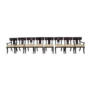 Henredon Furniture Henredon Black with Beige Upholstery Dining Chairs nj