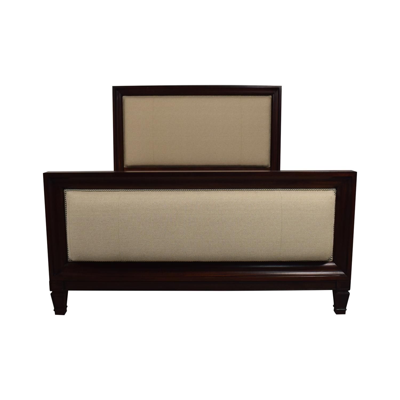Ralph Lauren Home Ralph Lauren Home Beige and Wood Queen Bed Frame second hand