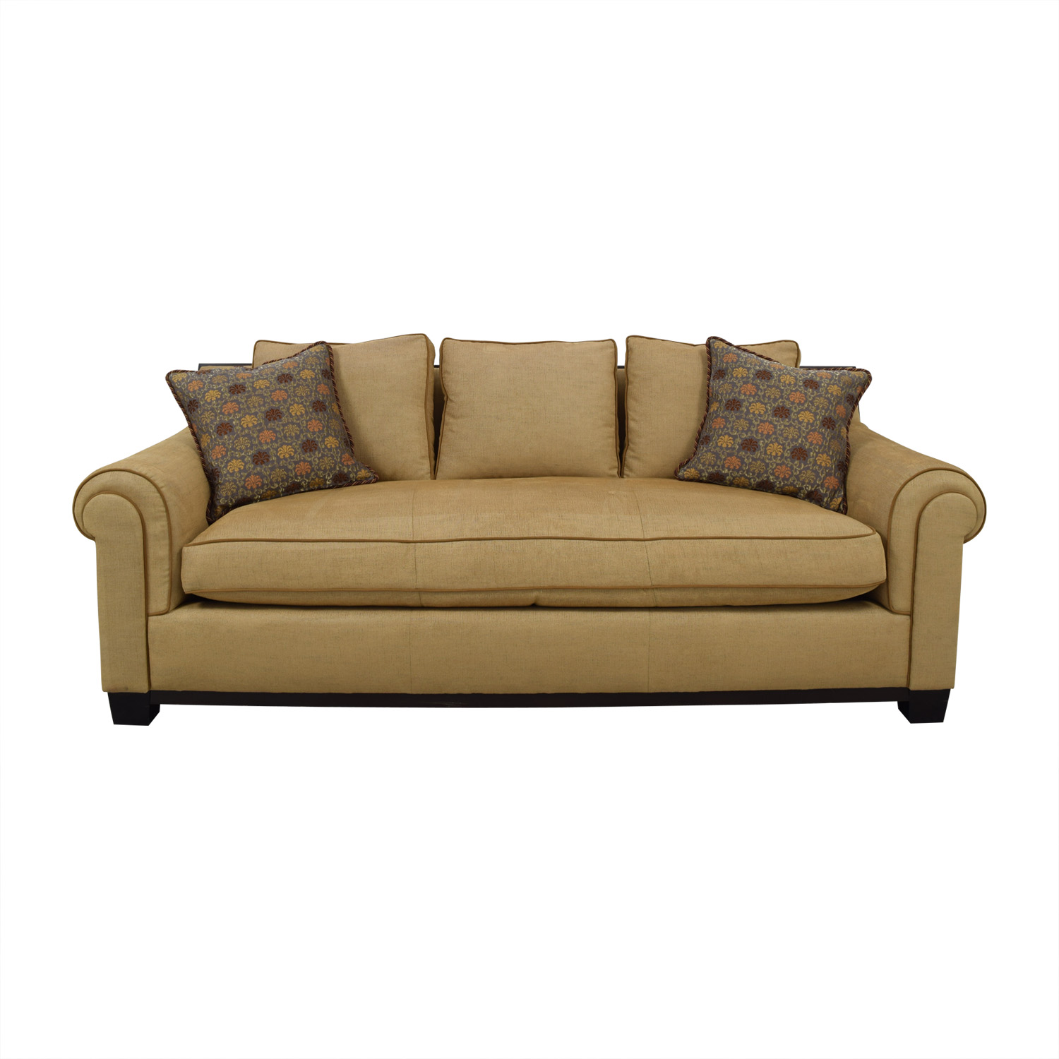 Custom Tan Single Cushion Sofa sale