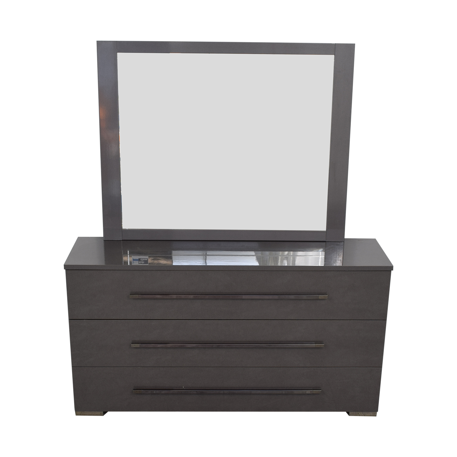 Grey Three-Drawer Dresser with Mirror on sale