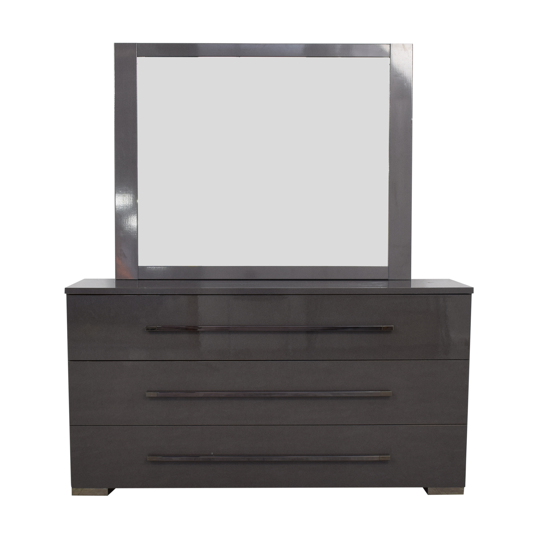 Grey Three-Drawer Dresser with Mirror on sale
